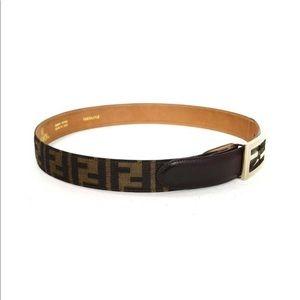 Fendi Brown Leather & Canvas Zucca Print Belt